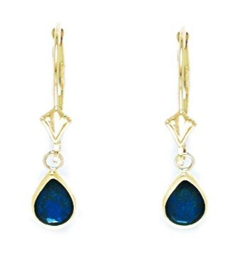14ct Yellow Gold September Birthstone Blue CZ Pear Drop Leverback Earrings - Measures 25x6mm