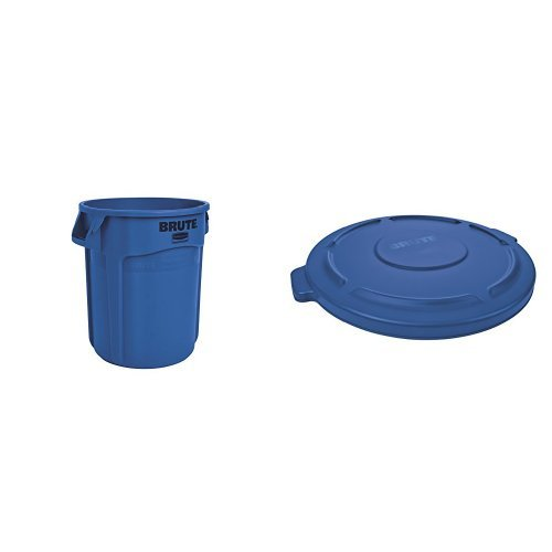 Rubbermaid Commercial BRUTE Trash Can, Vented, 20 Gallon, Blue with Lid (FG262000BLUE & 1779731) (Brute Blue Lid compare prices)