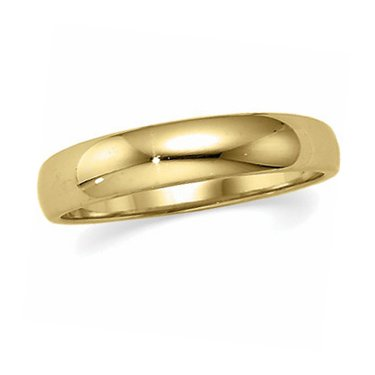 10K Yellow Gold, Half Round Tapered Wedding Band 4MM (sz 9)