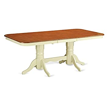 East West Furniture NAT-WHI-TP Rectangular Round Corner Dining Table with 18-Inch Self Storage Leaf, Buttermilk/Cherry Finish
