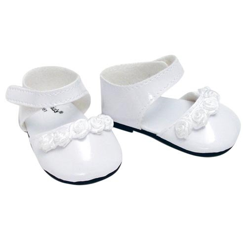 18-Inch-Doll-Dress-Shoes-fit-for-American-Girl-Dolls-in-White-Patent-Leather-and-Satin-Rose-Ribbon-Trim-White-Doll-Dress-Shoes