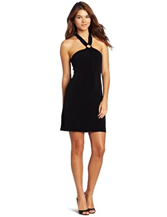 Calvin Klein Women's Matte Halter Dress, Black, 12