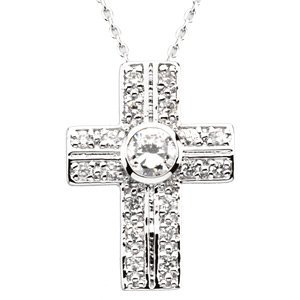 The Covenant of Prayer Cross with Stones Pendant & Chain