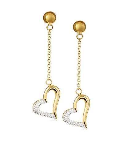 Chloe by Liv Oliver 18K Gold Plated Crystal Heart Drop Earrings