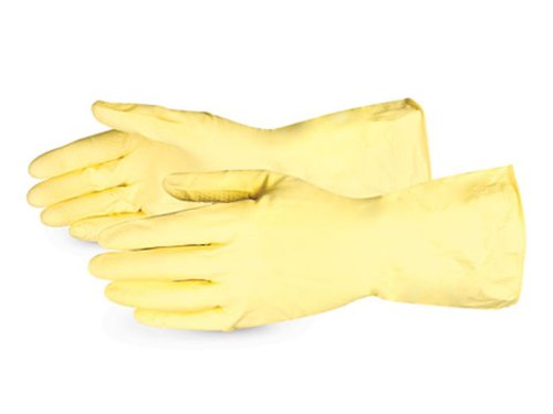 Superior LF3020Q Latex Flock-Lined Canners Glove with Rolled Cuff, Work, Chemical Resistant, 20 mil Thickness, 12 Length, Size 10, Yellow (Pack of 1 Dozen)
