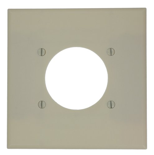 Leviton 80526-I 2-Gang Flush Mount 2.15-Inch Diameter, Device Receptacle Wallplate, Midway Size, Ivory