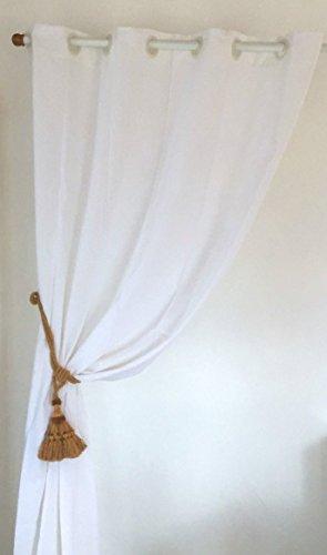 Rideau en lin blanc a oeillets hauteur 250cm linder les for Rideau linder