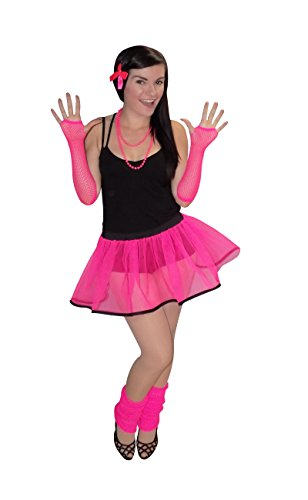 Pink 80's Neon Tutu Skirt with White or Black Bias & Legwarmers, Gloves - Sizes 8 to 16, 16 to 22 Plus Size