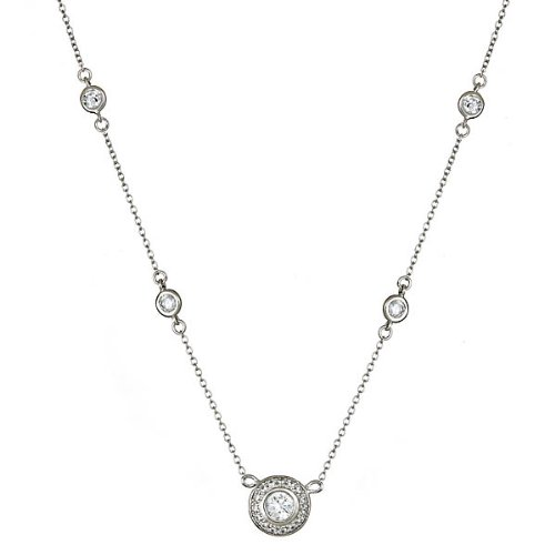 Sterling Silver Circlet Necklace with Bezel Cz's