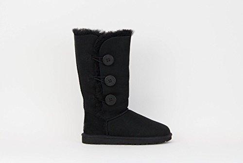 UGG Women's Bailey Button Triplet Boot, Black Sheepskin, 6 B - Medium
