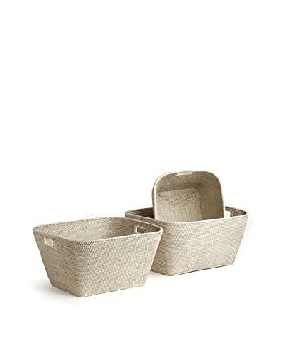 Napa Home & Garden Set of 3 Rattan Family Baskets, White