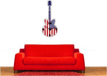 Guitar Clock With Working Mechanism Wall Decal Sticker Graphic By Lks Trading Post