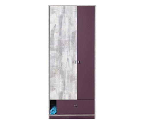 """Chambre d'adolescent - Armoire """"Marin"""" 03, Lilas / Blanc-Gris - Dimensions: 80 x 195 x 50 cm (L x H x P)"""