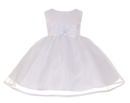 Cinderella Couture Baby Girls' White Satin & Organza Easter Flower Girl Dress