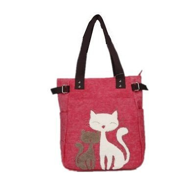 Cyber Monday Clearance Sale 2016 Valentoria Cute Cat Design Multifunction Women's Canvas Zipper Closure Handbag Shoulder Lunch Tote Bag with Large Capacity Best Gifts for Teen Girls (Red)