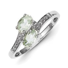 Genuine IceCarats Designer Jewelry Gift Sterling Silver Rhodium 2 Pear Green Quartz & Diamond Ring Size 7.00