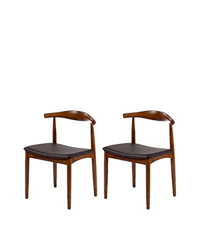 Manhattan Living Set of 2 Hansen Dining Chairs, Walnut