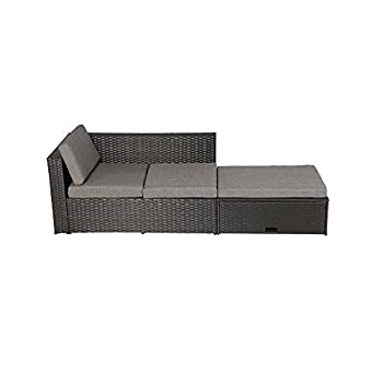 Baner Garden (K35 4 Pieces Outdoor Furniture Complete Patio Wicker Rattan Garden Corner Sofa Couch Set, Full, Black