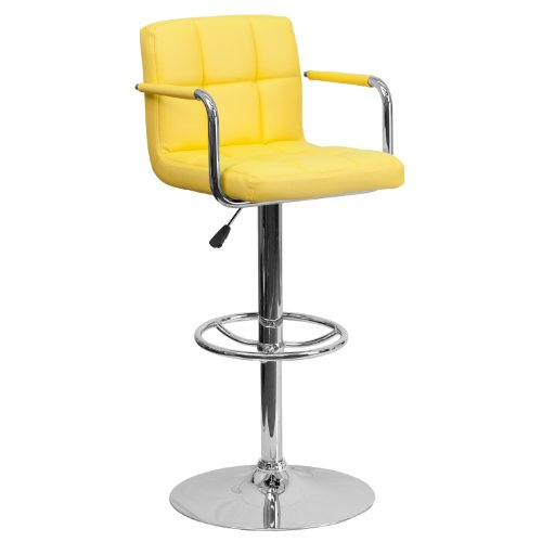 Flash Furniture Contemporary Yellow Quilted Vinyl Adjustable Height Bar Stool with Arms and Chrome Base Height Adjustable Arms