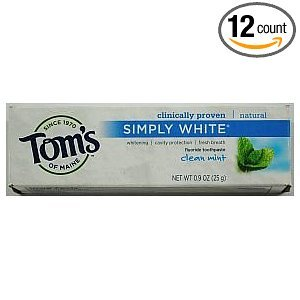 Toms of Maine Clean Mint Simply White Trial Size Toothpaste, 0.9 Ounce -- 12 per case.