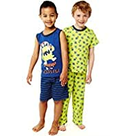 2 Pack Pure Cotton Monster Pyjamas