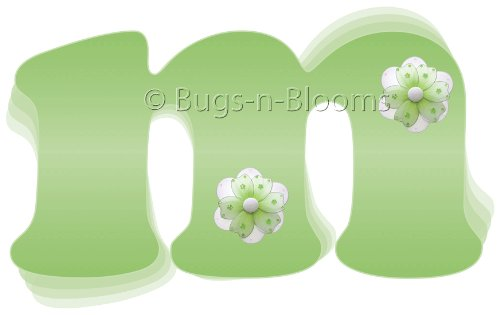 """M"" Green Daisy Flower Alphabet Letter Name Wall Sticker. Decal Letters For Children'S, Nursery & Baby'S Room Decor, Baby Name Wall Letters, Girls Bedroom Wall Letter Decorations, Child'S Names. Flowers Mural Walls Decals Baby Shower front-983031"