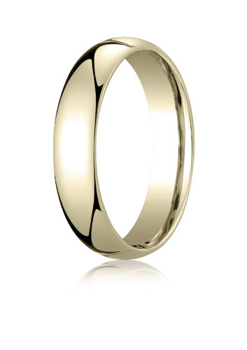 14K Yellow Gold, 5mm Slightly Domed Standard Comfort-Fit Ring (sz 12)