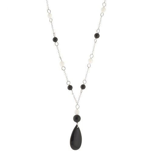 Sterling Silver Onyx and Mother-Of-Pearl Station Necklace, 18