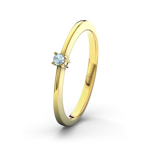 21DIAMONDS Women's Ring Leah Blue Brilliant Cut Sky Blue Topaz Engagement Ring 18 K Yellow Gold Engagement Ring