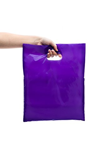 200 12x15 Glossy Pink and Purple Vibrant Plastic Gift and Shopping Bags with Handles/Merchandise/Retail Bags |Die Cut Handles|Vibrant Pink & Purple| (Wholesale Merchandise compare prices)