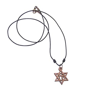 Star of David with Chai - olive wood with Genuine Leather necklace, necklace is 60cm long - 23.5 inches )