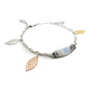 MyIDDr - Engraved Womens Penicillin Allergy Medical Bracelet, Unique & Adorable Walnut Leaves from My Identity Doctor