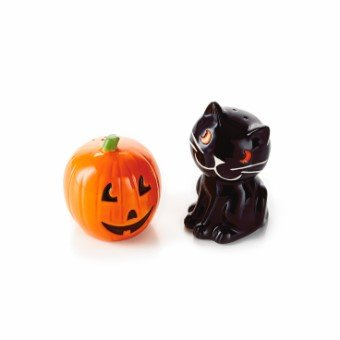 Hallmark 2 Pc Black CAT and Pumpkin Salt/pepper Shaker