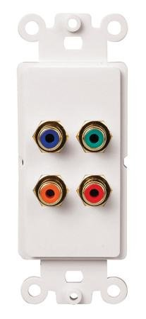 Component Video Plus Coaxial Digital Audio To Cat5E Wall Plate Balun With White Earbud Headphones