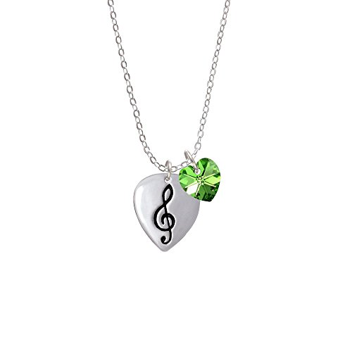 Large Clef On Guitar Pick - Lime Green Crystal Heart Sophia Necklace