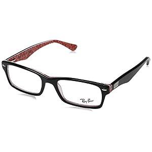 Ray-Ban Men's Rx5206 Rectangular Eyeglasses,Top Black & Texture Red,54 mm