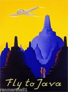 LanLan Fly to Java Indonesia Island Airplane Vintage Travel Advertisement Art Poster