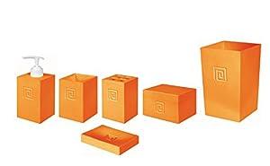 Bisk 04446 meander juego de papelera y accesorios color for Accesorios bano naranja