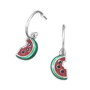 Watermelon Earrings on Half Hoop Earrings Rhodium on Sterling Silver