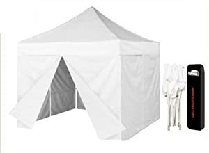 Eurmax 10 X 10 Pop up Tent Outdoor Canopy Instant Gazebo with 4 Zippered Sidewalls and Dust Cover, White