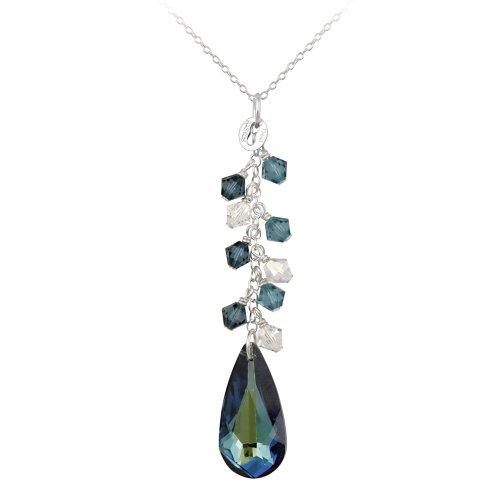 Sterling Silver Multi-Blue Swarovski Element Teardrop and Cluster Linear Drop Pendant Necklace, 18