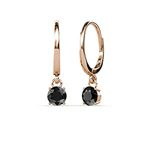 Black Diamond Four Prong Solitaire Dangling Earrings 0.55 ct tw in 14K Rose Gold