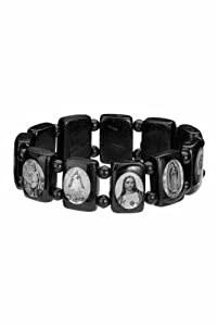 Saints Bracelet - Black Wood - Large Squares with Black Color Beads Spacers and Black and White Images - Made in Brazil