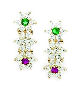 14ct Yellow Gold Green and Red CZ Large 3 Flower Leverback Earrings - Measures 17x7mm