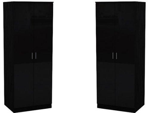 Set of 2x 2 Door Double Wardrobe in Black High Gloss & Oak Frame