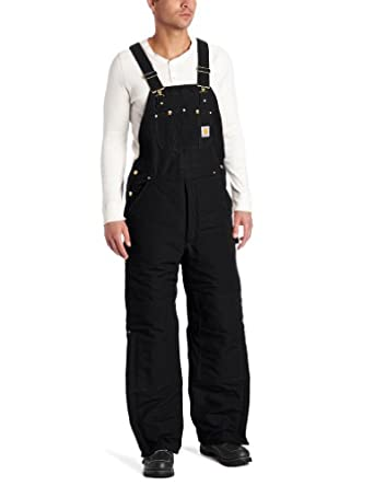 Carhartt Men's Quilted Lined Duck Bib Overall R02, Black, 30x30