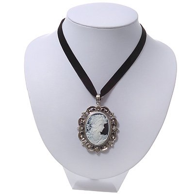 Victorian Style 'Cameo' Pendant On Black Velour Cord Choker Necklace In Silver Tone - 35cm Length (8cm extension)
