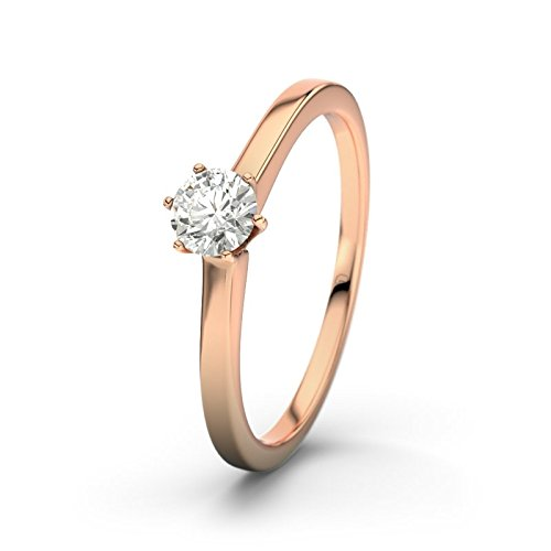 21DIAMONDS Women's Ring Rosario + 0.25 ct Brilliant Cut Diamond Engagement Ring 14ct Rose Gold Engagement Ring