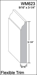 "Flexible Moulding - Flexible Base Moulding - WM623 - 9/16"" X 3-1/4"" - 8' Length - Flexible Trim from Resinart East, Inc"