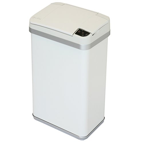 iTouchless Multifunction Sensor Matte Finish Trash Can, 4-Gallon, Pearl White (Wine Barrel Garbage Can compare prices)